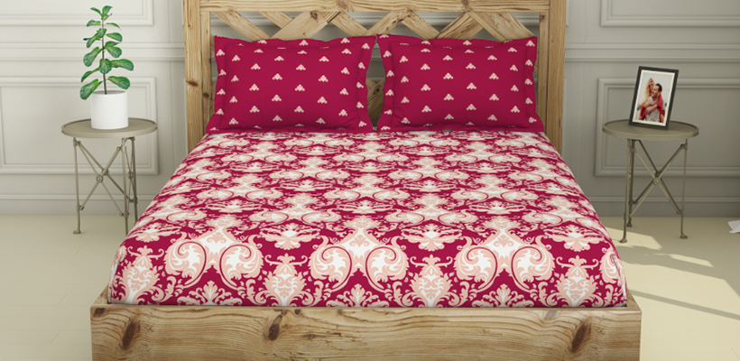 ATRIUM King Size Fitted Bedsheet -Maroon ₹ 1559