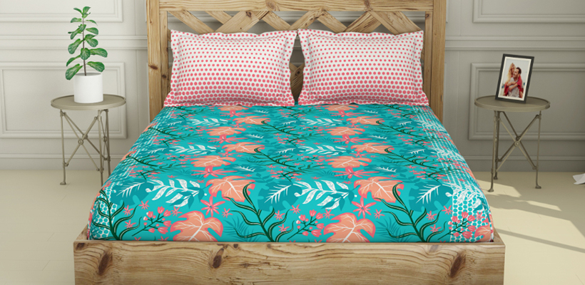 ATRIUM King Size Fitted Bedsheet -Teal @ ₹ 1559