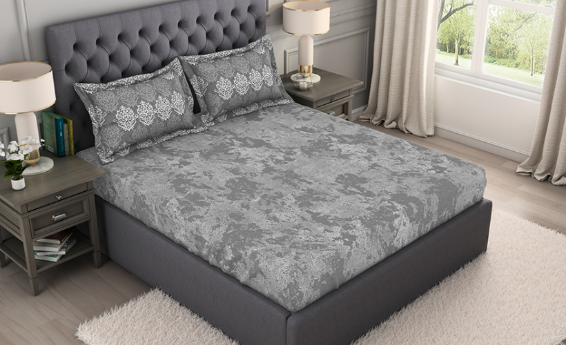 Bamboo Charcoal Antimicrobial Large Bedsheet – Grey @ ₹ 2999