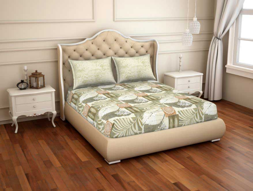 Spaces Essentials Atrium Double Bedsheet – Beige with 2 Pillow Covers @ ₹ 1350