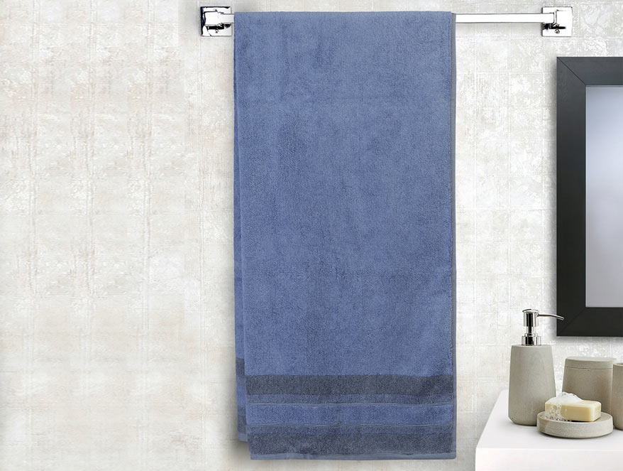 Bamboo Charcoal Cotton Antimicrobial Bath Towel – Blue @ ₹ 1599