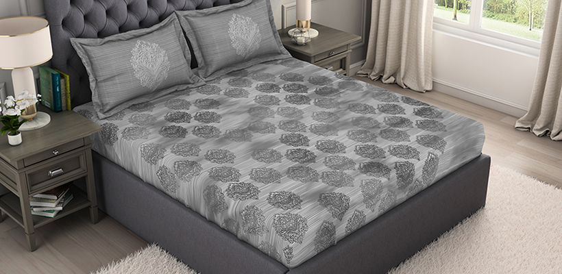 Bamboo Charcoal Cotton Antimicrobial Large Bedsheet (Embroidered, 274 cm x 274 cm) - Dark Grey @ ₹ 2999
