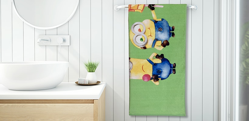 Minions Kids Bath Towel made from 100% Organic Cotton at ₹ 529